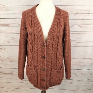 BDG Burnt Coral Sienna Cable Knit Cardigan Sweater